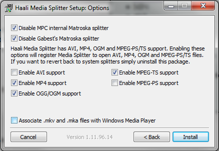 When installing your going to want to uncheck the option to Associate mkv and mka files with Windows Media Player.