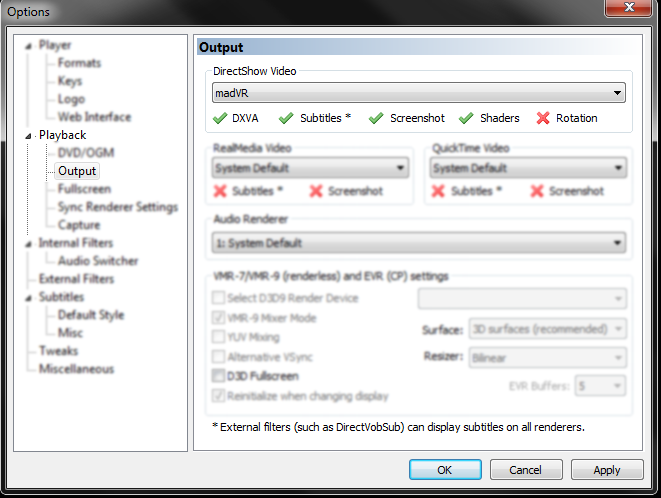 With that step out of the way it is time to enable madVR in the output section by selecting it as the option in DirectShow Video.